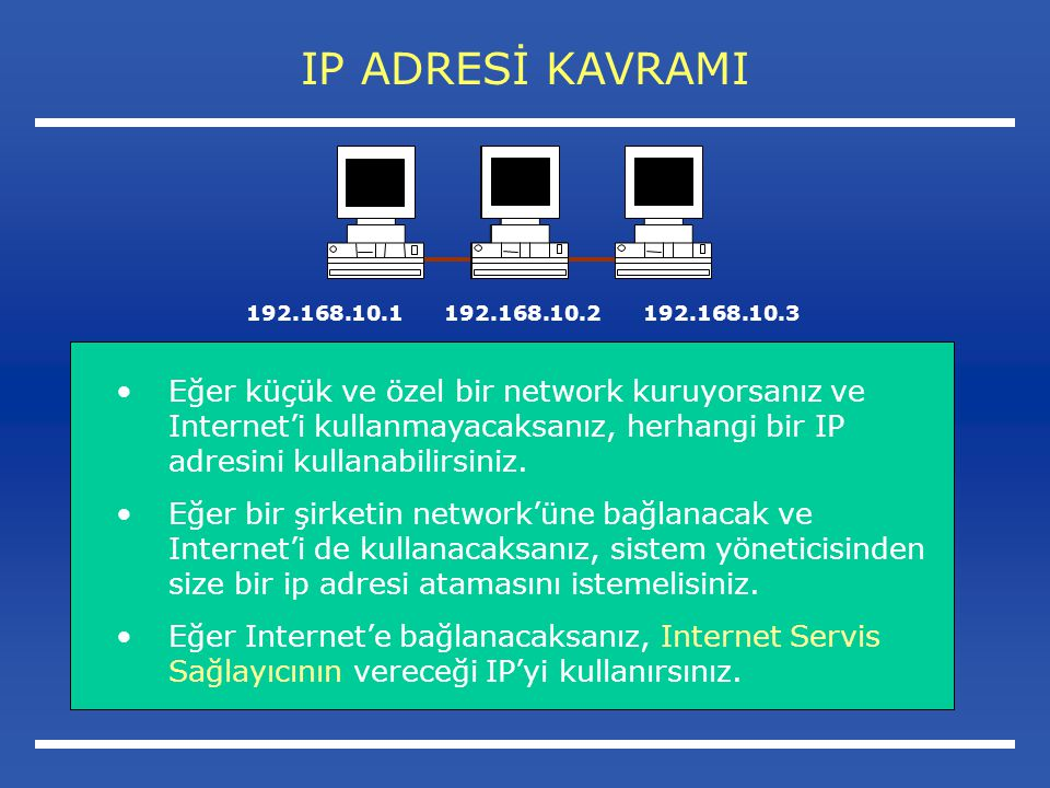 IP ADRESİ KAVRAMI Eğer küçük ve özel bir network kuruyorsanız ve Internet'i kullanmayacaksanız, herhangi bir IP adresini kullanabilirsiniz.