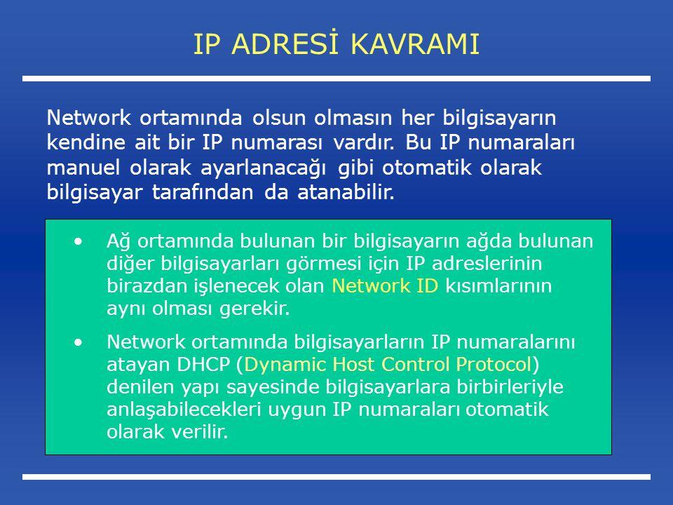 IP ADRESİ KAVRAMI Ağ ortamında bulunan bir bilgisayarın ağda bulunan diğer bilgisayarları görmesi için IP adreslerinin birazdan işlenecek olan Network ID kısımlarının aynı olması gerekir.