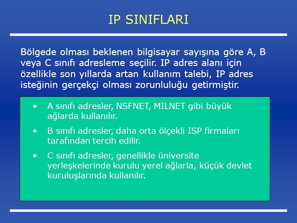 IP SINIFLARI A sınıfı adresler, NSFNET, MILNET gibi büyük ağlarda kullanılır.