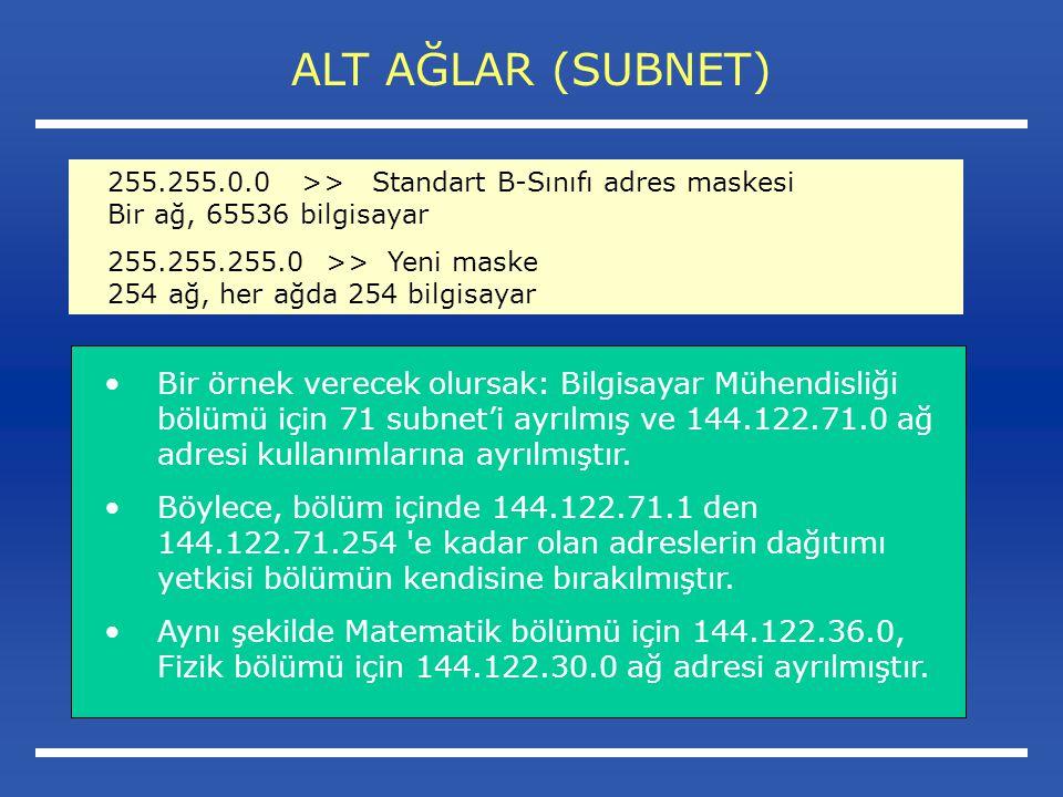 ALT AĞLAR (SUBNET) Bir örnek verecek olursak: Bilgisayar Mühendisliği bölümü için 71 subnet'i ayrılmış ve 144.122.71.0 ağ adresi kullanımlarına ayrılmıştır.