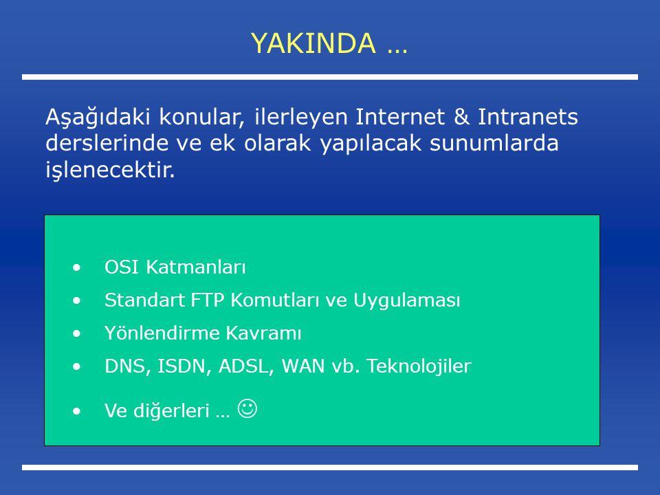 YAKINDA … Aşağıdaki konular, ilerleyen Internet & Intranets derslerinde ve ek olarak yapılacak sunumlarda işlenecektir.
