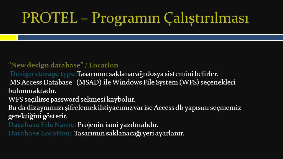 New design database / Password İsteniyorsa tasarıma şifre verilebileceği yerdir.