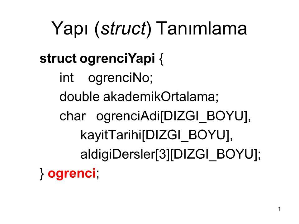 2 Yapı (struct) Tanımlama struct ogrenciYapi hazirlikOgrencisi; hazirlikOgrencisi.ogrenciNo = 100; strcpy(hazirlikOgrencisi.ogrenciAdi, MUSTAFA ); ogrenci.ogrenciNo = 101; strcpy(ogrenci.ogrenciAdi, KEMAL );