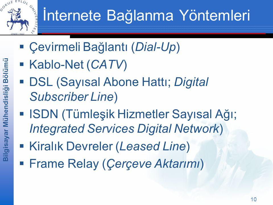Bilgisayar Mühendisliği Bölümü 10 İnternete Bağlanma Yöntemleri  Çevirmeli Bağlantı (Dial-Up)  Kablo-Net (CATV)  DSL (Sayısal Abone Hattı; Digital Subscriber Line)  ISDN (Tümleşik Hizmetler Sayısal Ağı; Integrated Services Digital Network)  Kiralık Devreler (Leased Line)  Frame Relay (Çerçeve Aktarımı)