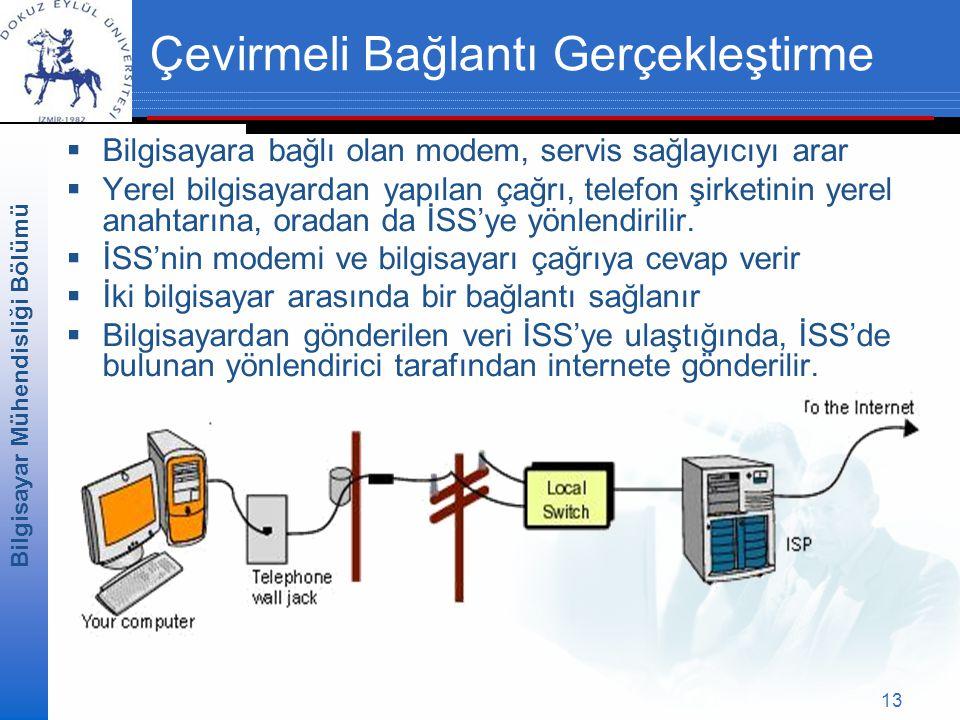 Bilgisayar Mühendisliği Bölümü 13 Çevirmeli Bağlantı Gerçekleştirme  Bilgisayara bağlı olan modem, servis sağlayıcıyı arar  Yerel bilgisayardan yapılan çağrı, telefon şirketinin yerel anahtarına, oradan da İSS'ye yönlendirilir.