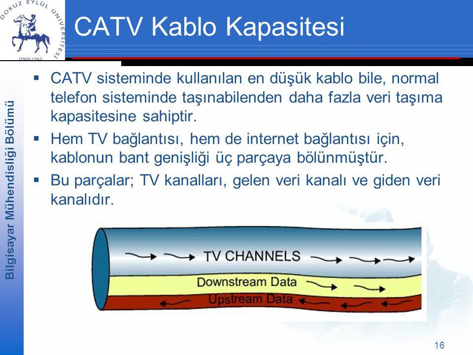 Bilgisayar Mühendisliği Bölümü 16 CATV Kablo Kapasitesi  CATV sisteminde kullanılan en düşük kablo bile, normal telefon sisteminde taşınabilenden daha fazla veri taşıma kapasitesine sahiptir.