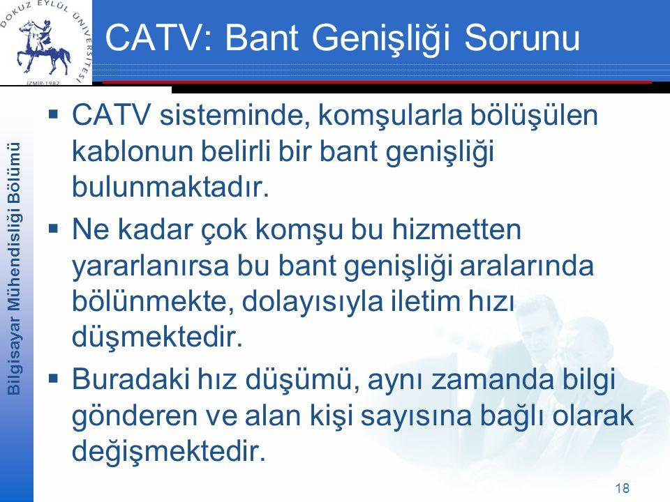 Bilgisayar Mühendisliği Bölümü 18 CATV: Bant Genişliği Sorunu  CATV sisteminde, komşularla bölüşülen kablonun belirli bir bant genişliği bulunmaktadır.