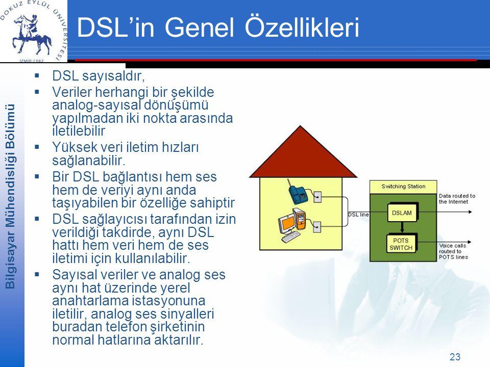 Bilgisayar Mühendisliği Bölümü 23 DSL'in Genel Özellikleri  DSL sayısaldır,  Veriler herhangi bir şekilde analog-sayısal dönüşümü yapılmadan iki nokta arasında iletilebilir  Yüksek veri iletim hızları sağlanabilir.
