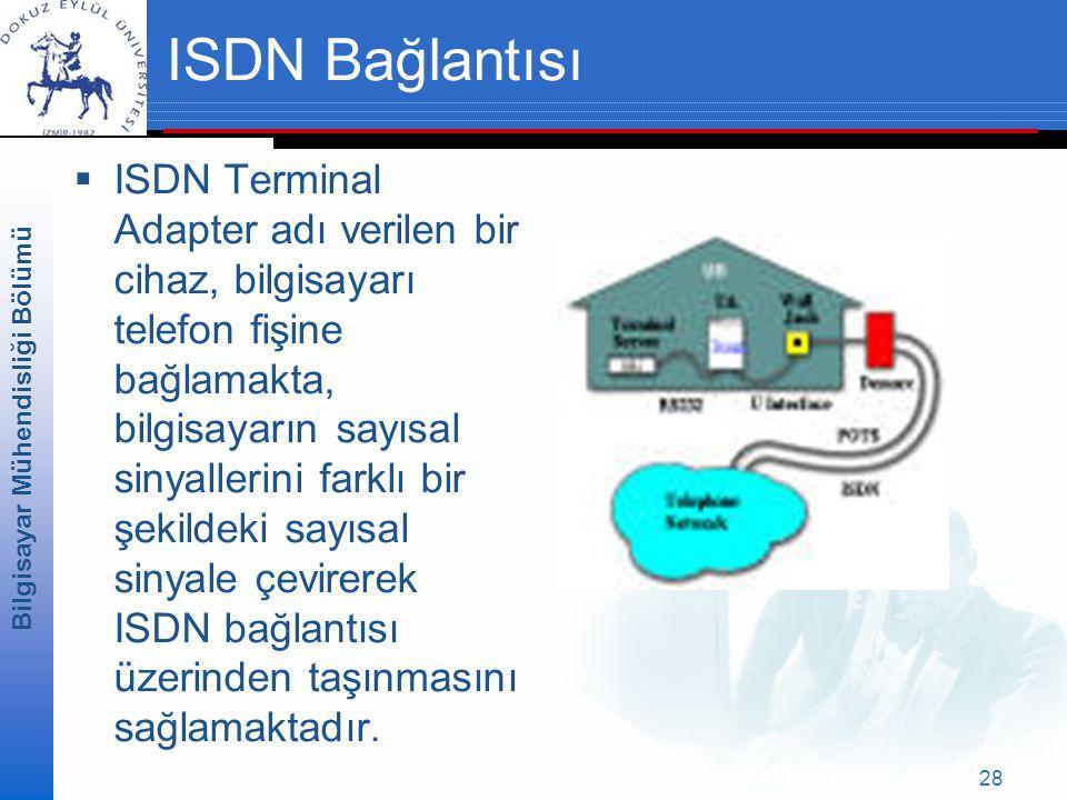 Bilgisayar Mühendisliği Bölümü 28 ISDN Bağlantısı  ISDN Terminal Adapter adı verilen bir cihaz, bilgisayarı telefon fişine bağlamakta, bilgisayarın sayısal sinyallerini farklı bir şekildeki sayısal sinyale çevirerek ISDN bağlantısı üzerinden taşınmasını sağlamaktadır.