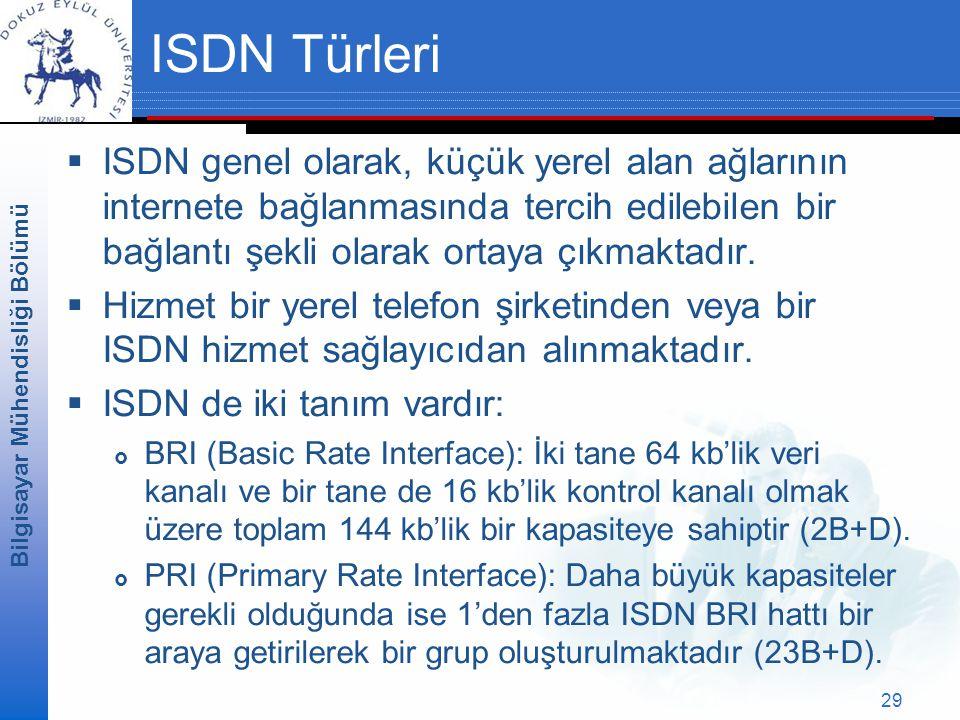 Bilgisayar Mühendisliği Bölümü 29 ISDN Türleri  ISDN genel olarak, küçük yerel alan ağlarının internete bağlanmasında tercih edilebilen bir bağlantı şekli olarak ortaya çıkmaktadır.