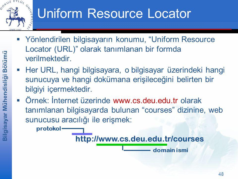 Bilgisayar Mühendisliği Bölümü 48 Uniform Resource Locator  Yönlendirilen bilgisayarın konumu, Uniform Resource Locator (URL) olarak tanımlanan bir formda verilmektedir.