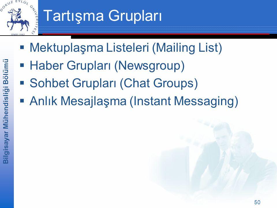 Bilgisayar Mühendisliği Bölümü 50 Tartışma Grupları  Mektuplaşma Listeleri (Mailing List)  Haber Grupları (Newsgroup)  Sohbet Grupları (Chat Groups)  Anlık Mesajlaşma (Instant Messaging)