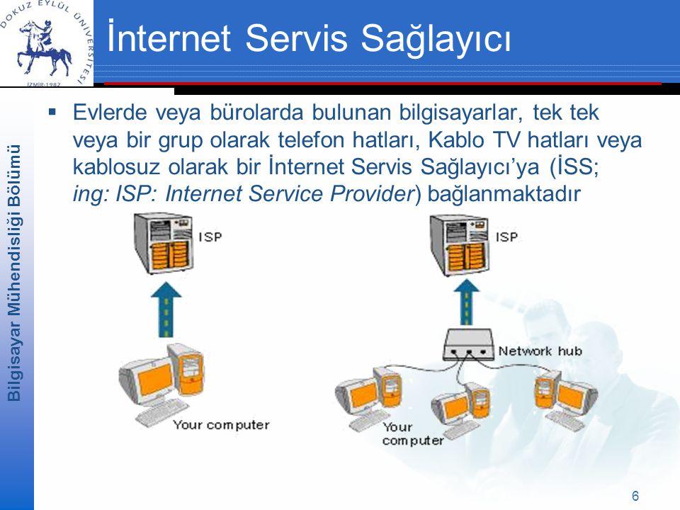 Bilgisayar Mühendisliği Bölümü 6 İnternet Servis Sağlayıcı  Evlerde veya bürolarda bulunan bilgisayarlar, tek tek veya bir grup olarak telefon hatları, Kablo TV hatları veya kablosuz olarak bir İnternet Servis Sağlayıcı'ya (İSS; ing: ISP: Internet Service Provider) bağlanmaktadır