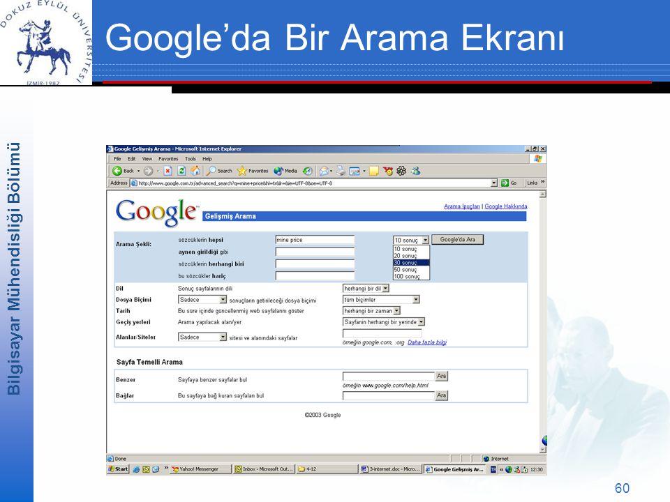 Bilgisayar Mühendisliği Bölümü 60 Google'da Bir Arama Ekranı
