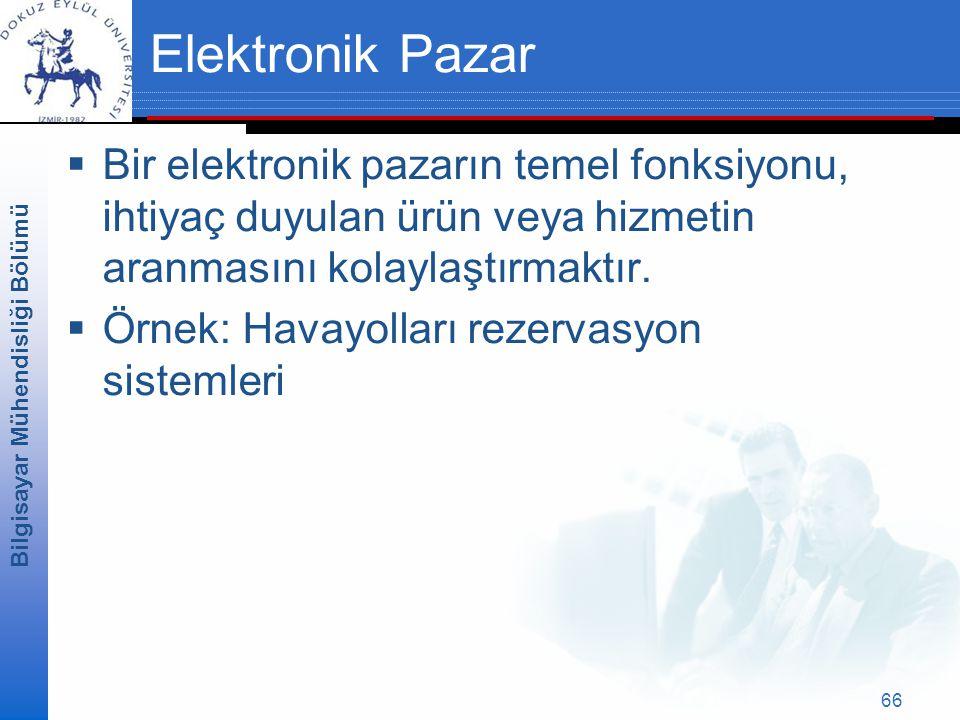 Bilgisayar Mühendisliği Bölümü 66 Elektronik Pazar  Bir elektronik pazarın temel fonksiyonu, ihtiyaç duyulan ürün veya hizmetin aranmasını kolaylaştırmaktır.