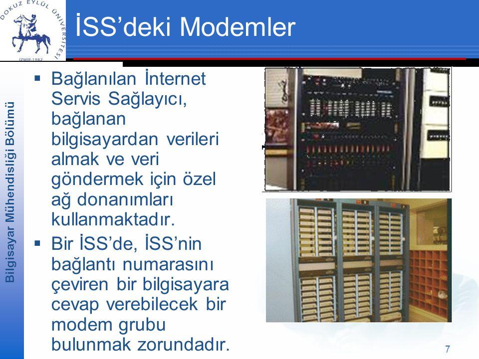 Bilgisayar Mühendisliği Bölümü 7 İSS'deki Modemler  Bağlanılan İnternet Servis Sağlayıcı, bağlanan bilgisayardan verileri almak ve veri göndermek için özel ağ donanımları kullanmaktadır.