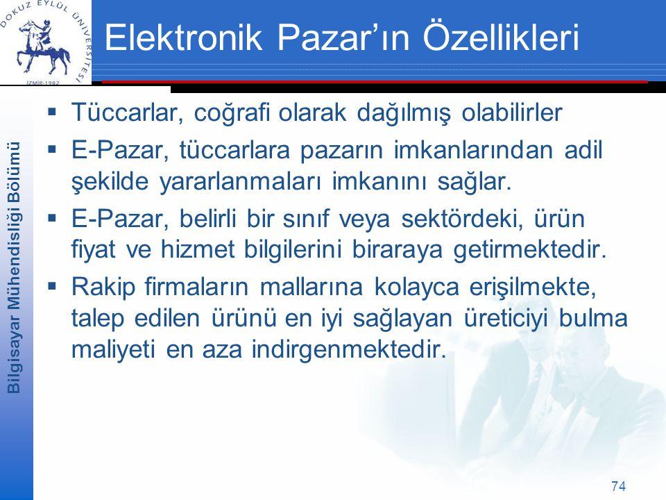 Bilgisayar Mühendisliği Bölümü 74 Elektronik Pazar'ın Özellikleri  Tüccarlar, coğrafi olarak dağılmış olabilirler  E-Pazar, tüccarlara pazarın imkanlarından adil şekilde yararlanmaları imkanını sağlar.