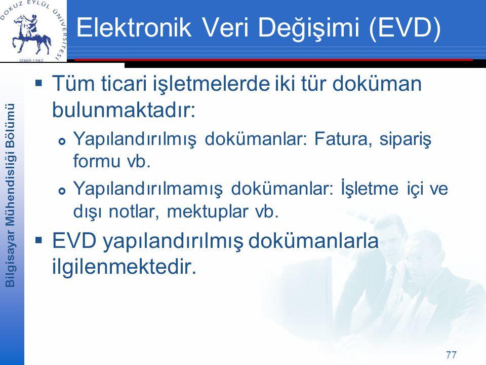 Bilgisayar Mühendisliği Bölümü 77 Elektronik Veri Değişimi (EVD)  Tüm ticari işletmelerde iki tür doküman bulunmaktadır:  Yapılandırılmış dokümanlar: Fatura, sipariş formu vb.