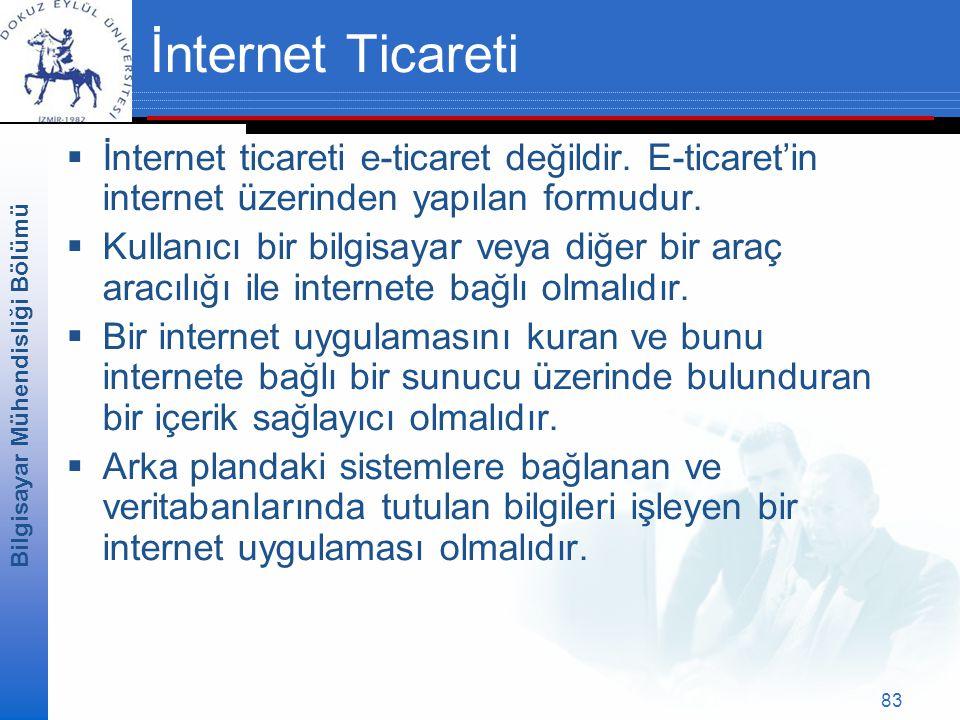 Bilgisayar Mühendisliği Bölümü 83 İnternet Ticareti  İnternet ticareti e-ticaret değildir.