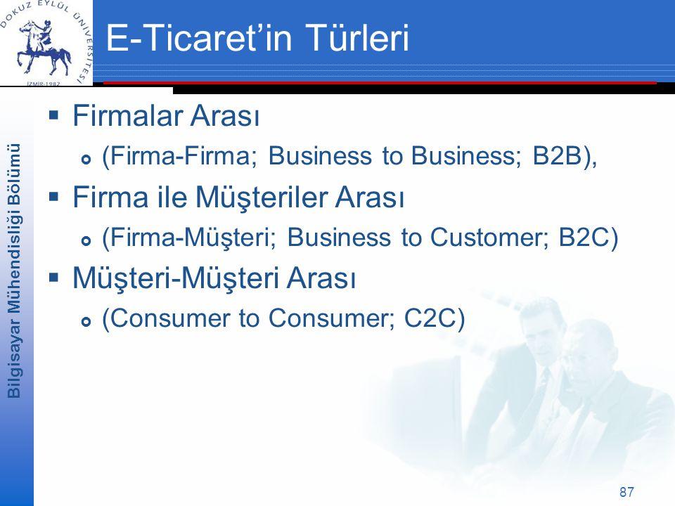 Bilgisayar Mühendisliği Bölümü 87 E-Ticaret'in Türleri  Firmalar Arası  (Firma-Firma; Business to Business; B2B),  Firma ile Müşteriler Arası  (Firma-Müşteri; Business to Customer; B2C)  Müşteri-Müşteri Arası  (Consumer to Consumer; C2C)