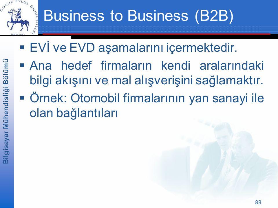 Bilgisayar Mühendisliği Bölümü 88 Business to Business (B2B)  EVİ ve EVD aşamalarını içermektedir.
