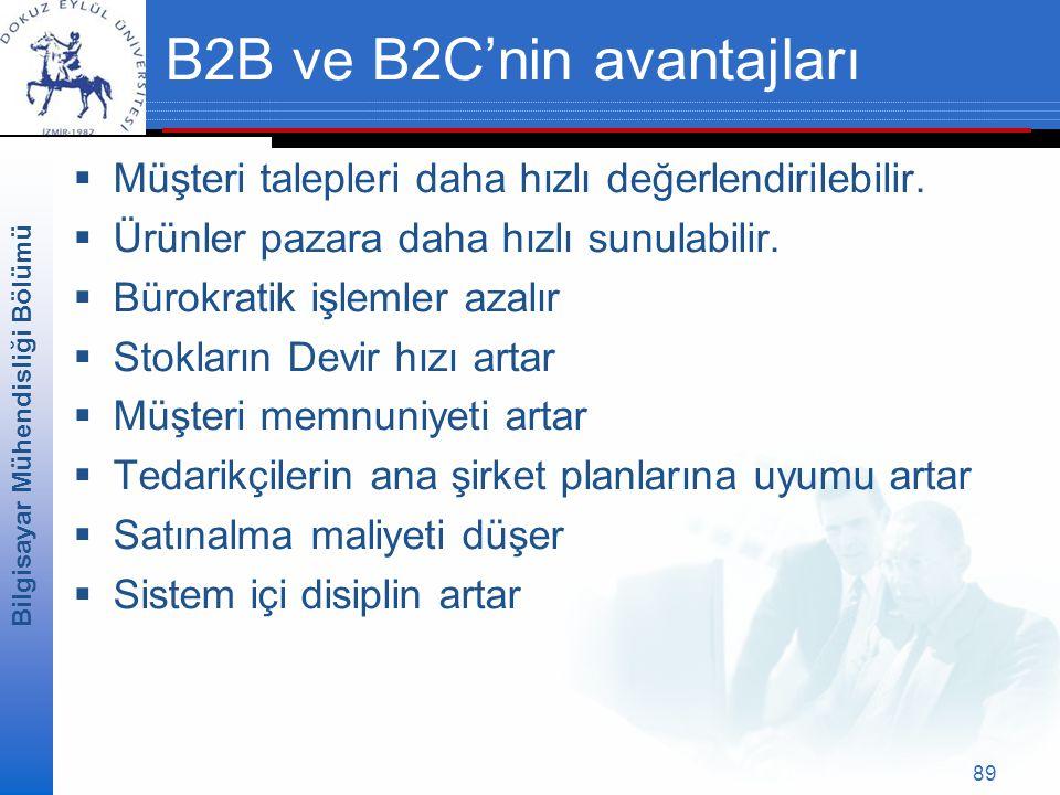 Bilgisayar Mühendisliği Bölümü 89 B2B ve B2C'nin avantajları  Müşteri talepleri daha hızlı değerlendirilebilir.