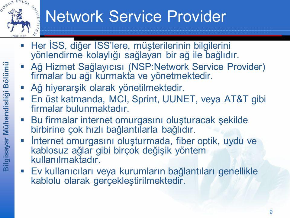 Bilgisayar Mühendisliği Bölümü 9 Network Service Provider  Her İSS, diğer İSS'lere, müşterilerinin bilgilerini yönlendirme kolaylığı sağlayan bir ağ ile bağlıdır.