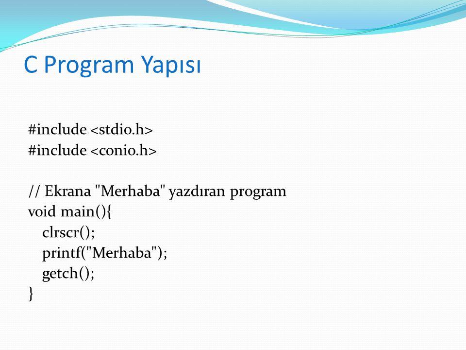 C Program Yapısı #include // Ekrana
