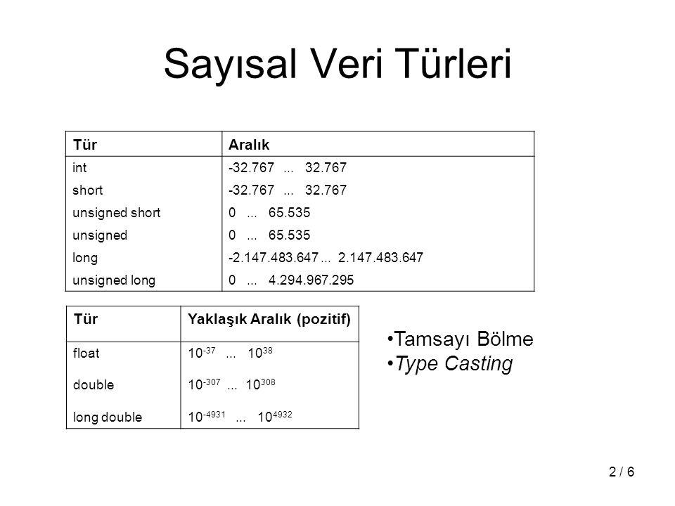 2 / 6 Sayısal Veri Türleri TürAralık int-32.767... 32.767 short-32.767... 32.767 unsigned short0... 65.535 unsigned0... 65.535 long-2.147.483.647... 2