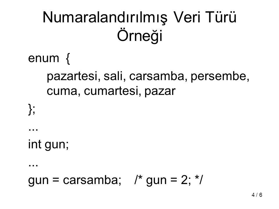 5 / 6 Yeni Tür Tanımlama Örneği-1 typedef unsigned int uint; int main (void) { uint deneme; deneme = 12345; printf( %d \n , deneme);...