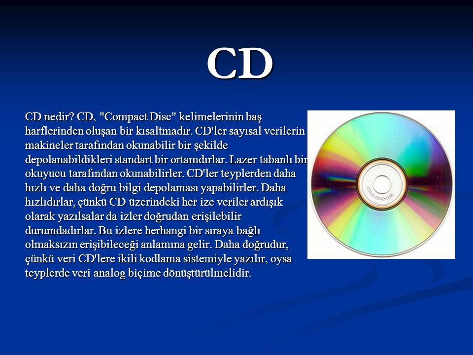 CD FORMATLARI CD-DA (Compact Disk Digital Audio): Bildiğimiz müzik CD'si.