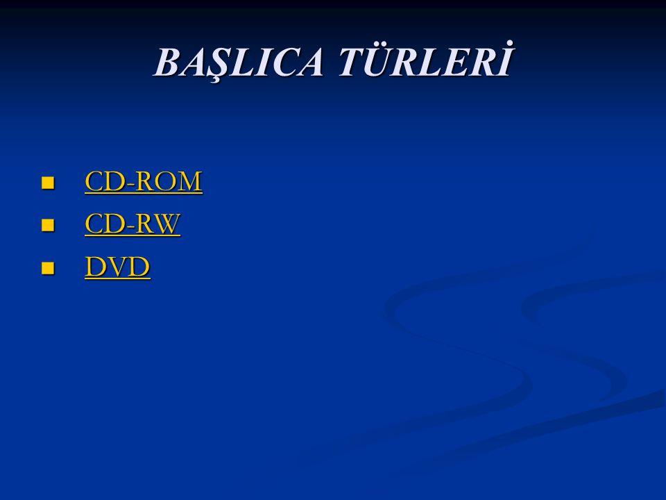 BAŞLICA TÜRLERİ CD-ROM CD-ROM CD-ROM CD-RW CD-RW CD-RW DVD DVD DVD