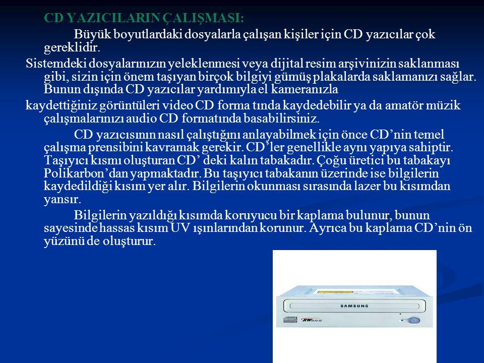 CD YAZICILARIN ÇALIŞMASI: Büyük boyutlardaki dosyalarla çalışan kişiler için CD yazıcılar çok gereklidir.