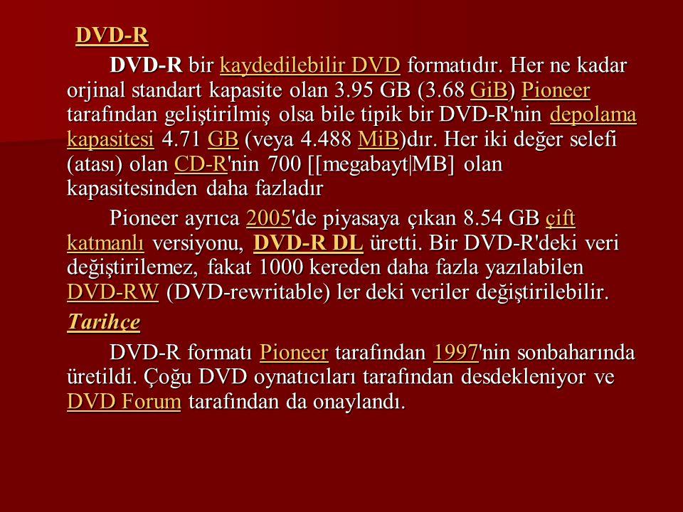 DVD-R DVD-R bir kaydedilebilir DVD formatıdır. Her ne kadar orjinal standart kapasite olan 3.95 GB (3.68 GiB) Pioneer tarafından geliştirilmiş olsa bi