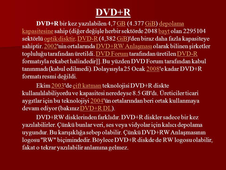 DVD+R DVD+R bir kez yazılabilen 4,7 GB (4.377 GiB) depolama kapasitesine sahip (diğer değişle herbir sektörde 2048 bayt olan 2295104 sektörlü optik di