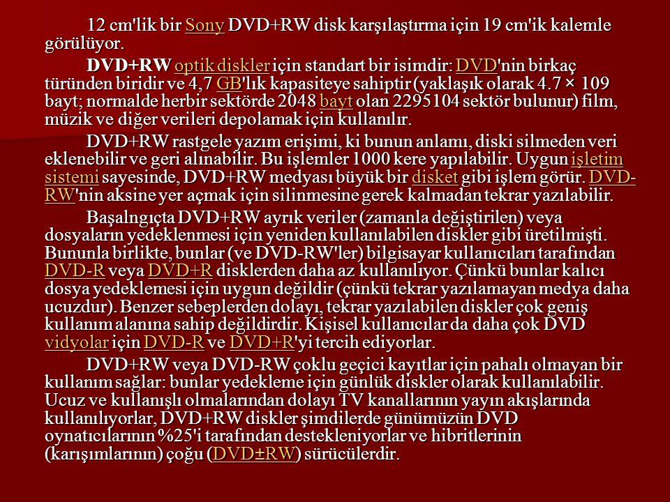 12 cm'lik bir Sony DVD+RW disk karşılaştırma için 19 cm'ik kalemle görülüyor. Sony DVD+RW optik diskler için standart bir isimdir: DVD'nin birkaç türü