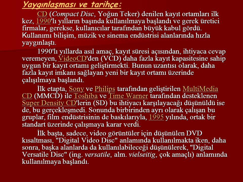 Almanya daki verilere göre, 2001 yılında sinema filmi olarak satılan DVD sayısı VHS video kaset satışlarını geride bırakmış olmasına rağmen daha yoğun kayıt imkanı sunan, yeni kayıt ortamları üzerine yapılan çalışmalar devam etmektedir.Almanya2001VHS Bunlar içinde en çok dikkat çeken çalışmalar, Blu-ray Disc (kısaca Blu-Ray) ve High Definition DVD (HD-DVD) üzerinde yapılan çalışmalardır.Blu-ray DiscHigh Definition DVD