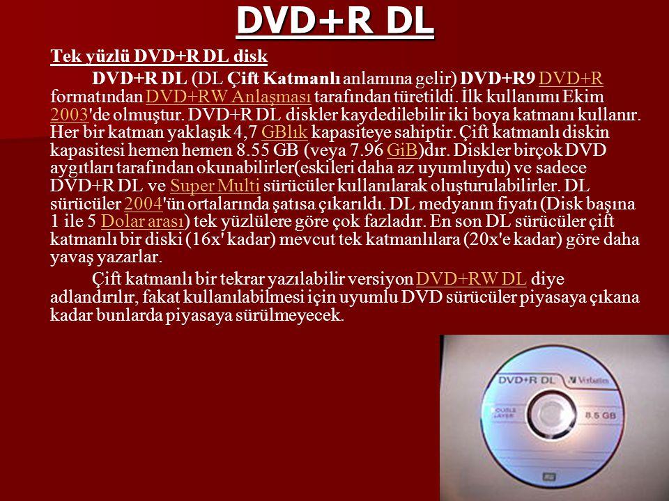 DVD+R DL Tek yüzlü DVD+R DL disk DVD+R DL (DL Çift Katmanlı anlamına gelir) DVD+R9 DVD+R formatından DVD+RW Anlaşması tarafından türetildi. İlk kullan