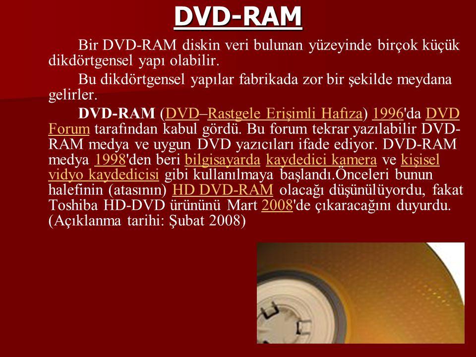 DVD-RAM Bir DVD-RAM diskin veri bulunan yüzeyinde birçok küçük dikdörtgensel yapı olabilir. Bu dikdörtgensel yapılar fabrikada zor bir şekilde meydana