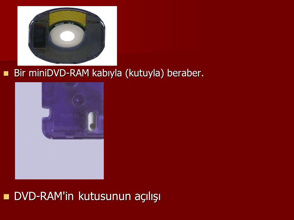 Bir miniDVD-RAM kabıyla (kutuyla) beraber. Bir miniDVD-RAM kabıyla (kutuyla) beraber. DVD-RAM'in kutusunun açılışı DVD-RAM'in kutusunun açılışı