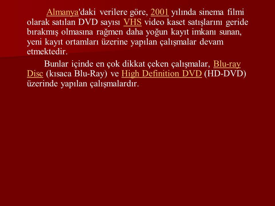 Teknik Bilgiler ve DVD Türleri : DVD ler 0.6 mm kalınlığında plastik kaplı polikarbonattan ve çok daha ince yansıtıcı bir alüminyum ya da altın tabakadan oluşur.