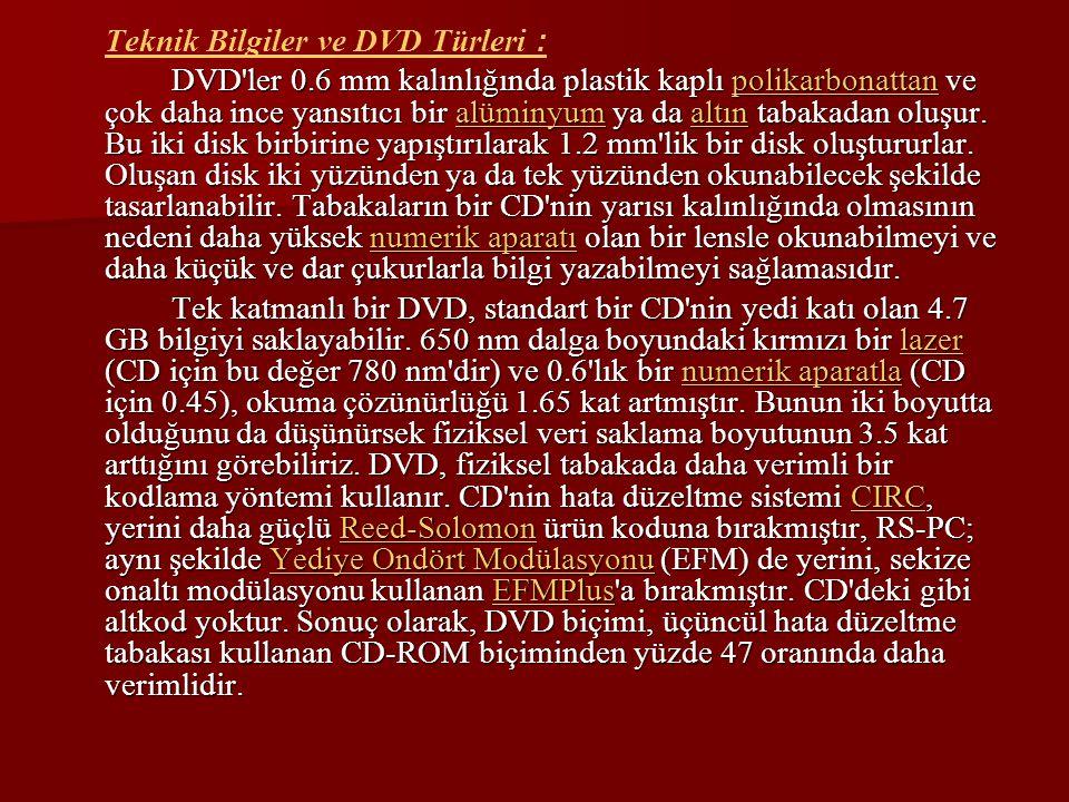 Teknik Bilgiler ve DVD Türleri : DVD'ler 0.6 mm kalınlığında plastik kaplı polikarbonattan ve çok daha ince yansıtıcı bir alüminyum ya da altın tabaka
