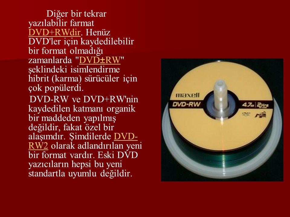 Diğer bir tekrar yazılabilir farmat DVD+RWdir. Henüz DVD'ler için kaydedilebilir bir format olmadığı zamanlarda