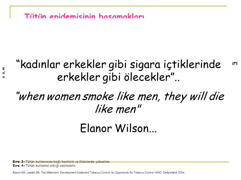 EVRE 1 EVRE 2 EVRE 3 EVRE 4 Sigara içme sıklığı (%) Erkek Sigara içme sıklığı (%) Kadın Ölüm hızı (%) Erkek Ölüm hızı (%) Kadın Sahra altı Afrika Çin