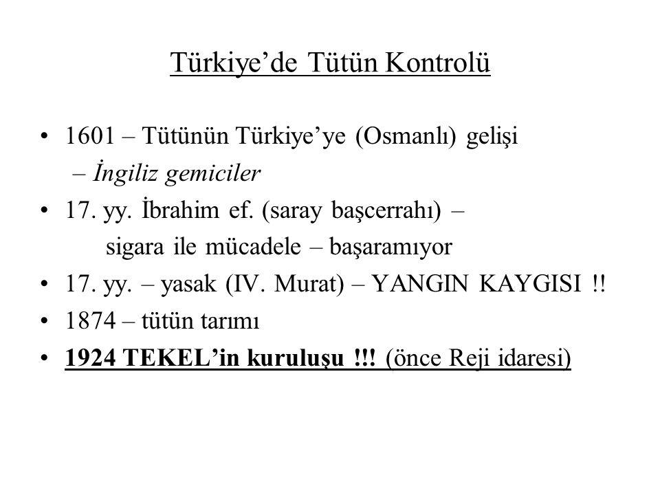 Türkiye'de Tütün Kontrolü 1601 – Tütünün Türkiye'ye (Osmanlı) gelişi –İngiliz gemiciler 17. yy. İbrahim ef. (saray başcerrahı) – sigara ile mücadele –