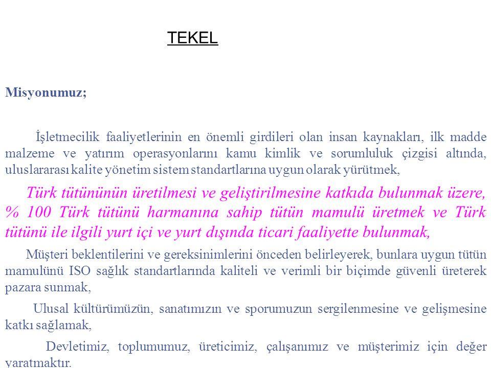 Misyonumuz; İşletmecilik faaliyetlerinin en önemli girdileri olan insan kaynakları, ilk madde malzeme ve yatırım operasyonlarını kamu kimlik ve sorumluluk çizgisi altında, uluslararası kalite yönetim sistem standartlarına uygun olarak yürütmek, Türk tütününün üretilmesi ve geliştirilmesine katkıda bulunmak üzere, % 100 Türk tütünü harmanına sahip tütün mamulü üretmek ve Türk tütünü ile ilgili yurt içi ve yurt dışında ticari faaliyette bulunmak, Müşteri beklentilerini ve gereksinimlerini önceden belirleyerek, bunlara uygun tütün mamulünü ISO sağlık standartlarında kaliteli ve verimli bir biçimde güvenli üreterek pazara sunmak, Ulusal kültürümüzün, sanatımızın ve sporumuzun sergilenmesine ve gelişmesine katkı sağlamak, Devletimiz, toplumumuz, üreticimiz, çalışanımız ve müşterimiz için değer yaratmaktır.