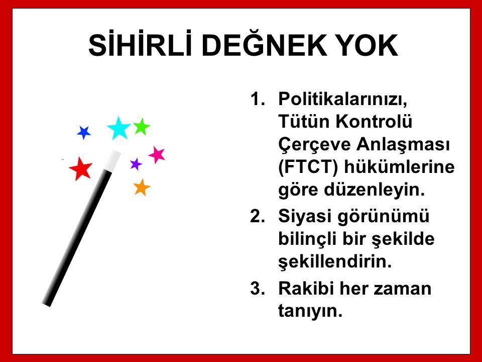 SİHİRLİ DEĞNEK YOK 1.Politikalarınızı, Tütün Kontrolü Çerçeve Anlaşması (FTCT) hükümlerine göre düzenleyin. 2.Siyasi görünümü bilinçli bir şekilde şek