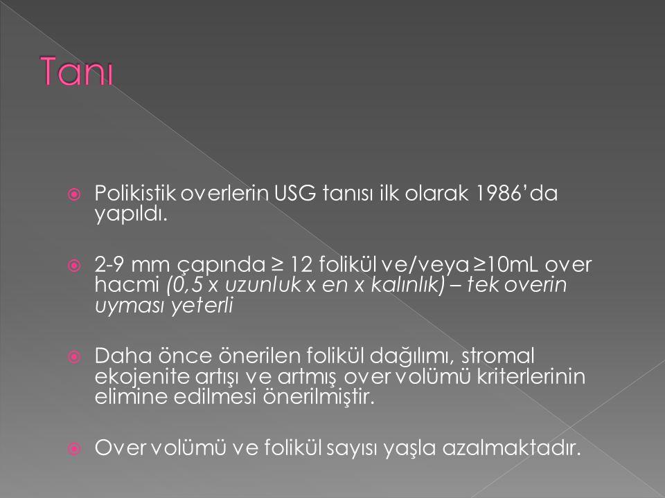  Polikistik overlerin USG tanısı ilk olarak 1986'da yapıldı.  2-9 mm çapında ≥ 12 folikül ve/veya ≥10mL over hacmi (0,5 x uzunluk x en x kalınlık) –
