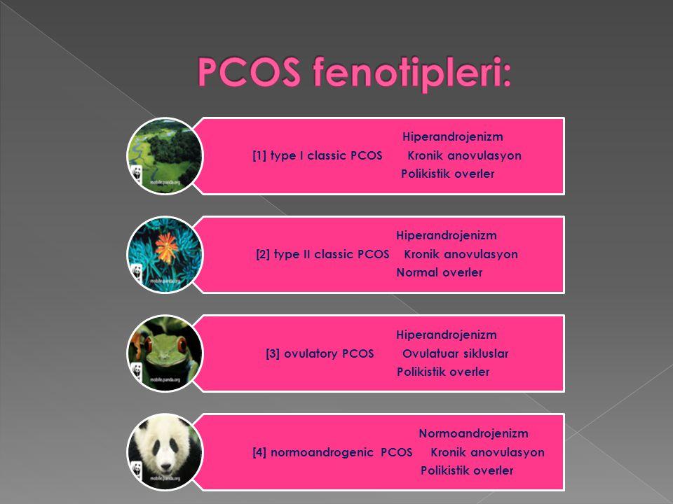 Hiperandrojenizm [1] type I classic PCOS Kronik anovulasyon Polikistik overler Hiperandrojenizm [2] type II classic PCOS Kronik anovulasyon Normal ove