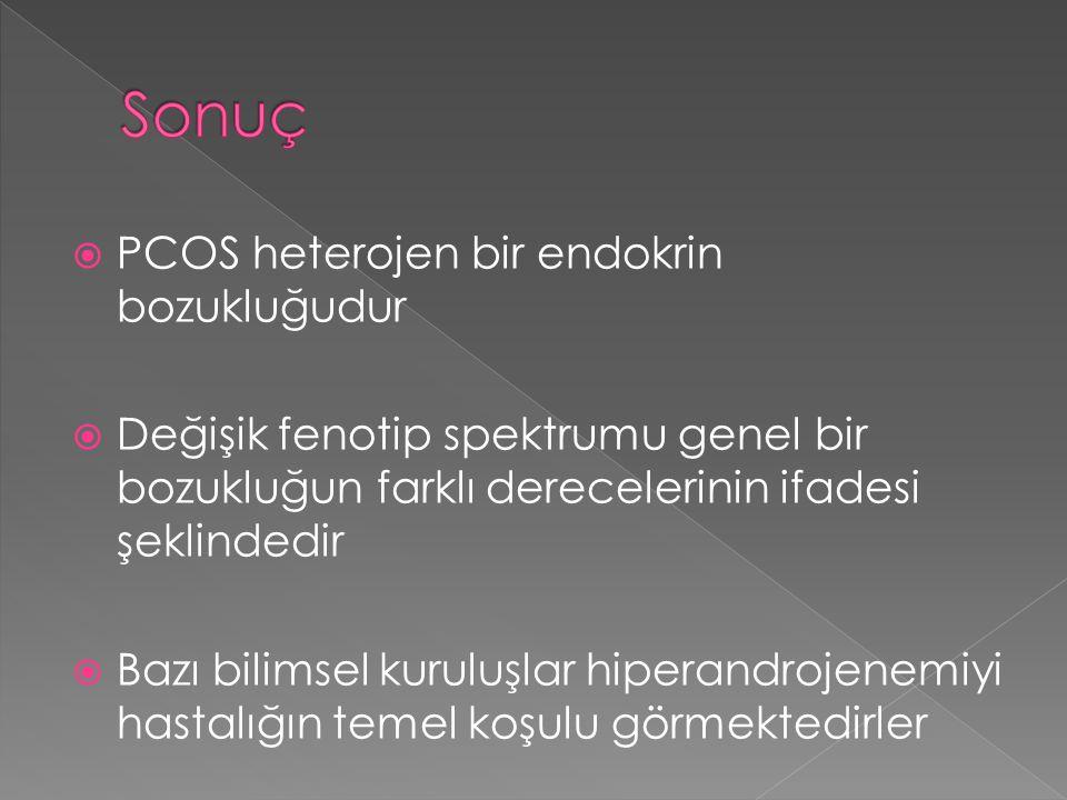  PCOS heterojen bir endokrin bozukluğudur  Değişik fenotip spektrumu genel bir bozukluğun farklı derecelerinin ifadesi şeklindedir  Bazı bilimsel k